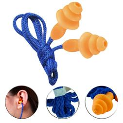1/2/5/10pcs Silicone Corded Noise Reduction Ear Plugs Protec