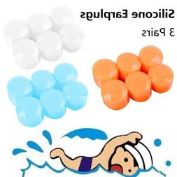3Pairs Swimming Sleeping Anti-noise Waterproof Earmuffs Soft