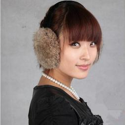Earmuffs Natural Fur For Women Fashionable Solid Winter Warm