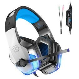 Gaming Headset With Mic LED Bass Surround Soft Memory Earmuf