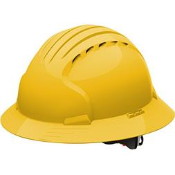 Safety Works Pro Hard Hat, Vented, Yellow, 6-Point Wheel Rat