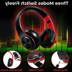 Headphones Bluetooth Over the Ear Leather Earmuffs Wireless