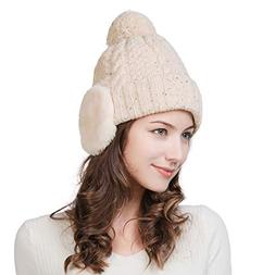 Fancet Women Knit Beanie Snow Winter Hat Ski Warm Cap with E