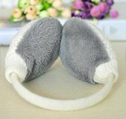 Knolee Knit EarMuffs Winter Outdoor White Unisex Faux Furry