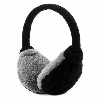 adult knitted removable warm winter earmuffs black