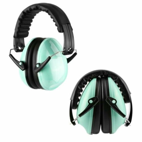 blue ear muffs protection construction shooting noise
