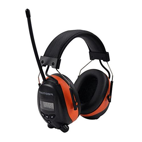 PROTEAR Cancelling Headphones, AM/FM Safety for NRR 25dB Ear with Built-in Orange