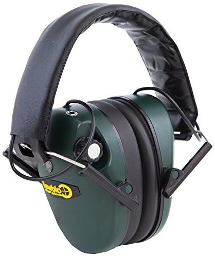 Caldwell E-Max Profile Electronic 23 Protection Amplification and Earmuffs for Shooting, Range, Green