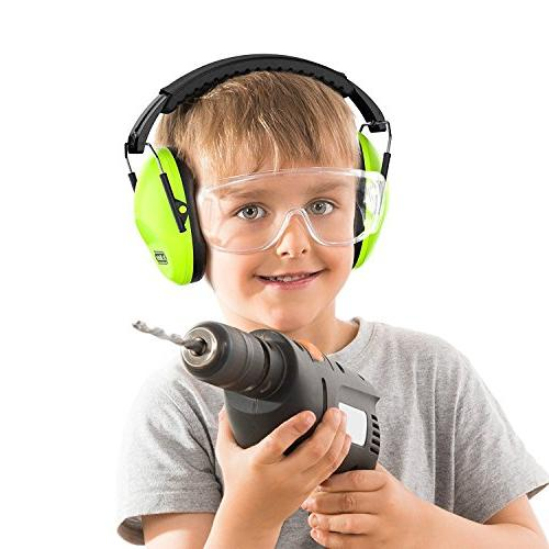 Dr.meter Earmuffs with Hearing Protection Earmuffs Shooting Sleeping Studying, Green-2 Packs