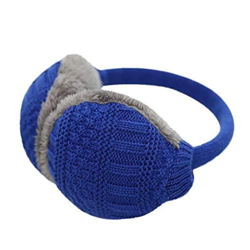 knitted foldable earmuffs faux fur