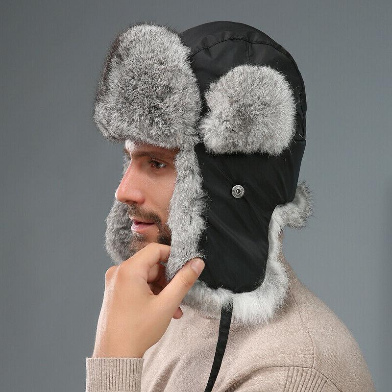 Men's Real Rabbit Hats Women Warm Couples Earmuffs