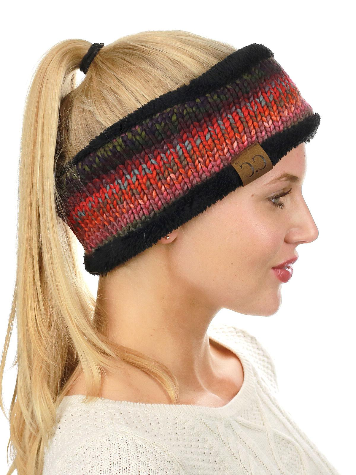 NEW! Colorful Cable Knit FUZZY Warmer Head