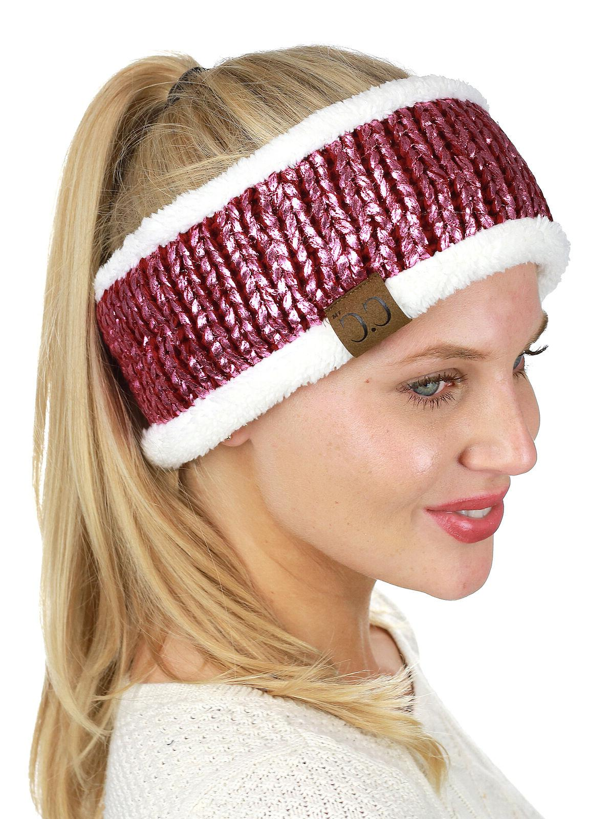 NEW! CC Head Colorful Knit FUZZY LINED Warmer Head Wrap