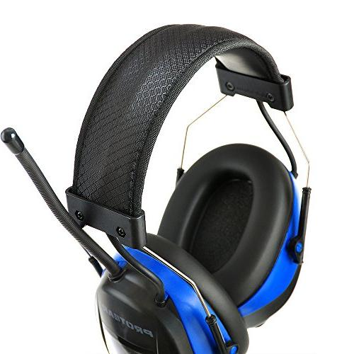 PROTEAR Bluetooth AM with Lithium 25dB Hearing Ear Muffs with Display,Noise Reduction Working,Lawn