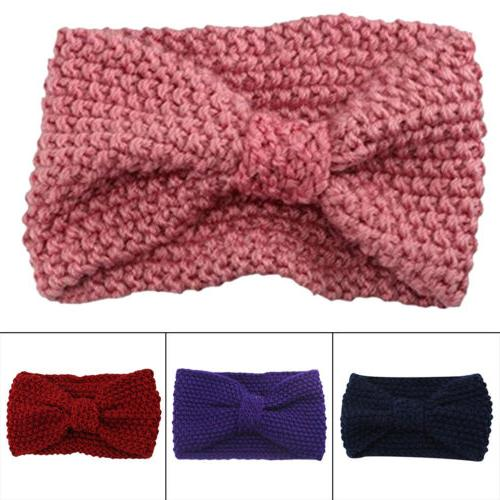 Women Bow-Knot Knitted Scarf Headband Hair