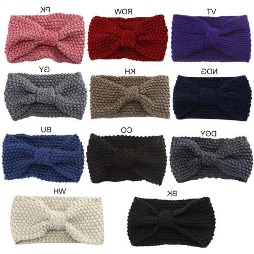 Women Knitted Scarf Headband Hair Accessories US