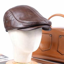 Men's Real Leather Winter Warm Earmuff Army beret Peaked cap