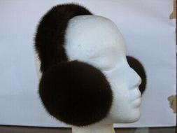 new dark mahogany color fur mink earmuffs
