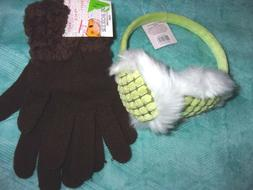 New Women's Green Ear Muffs & Brown Gloves by Joe Boxer