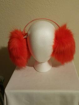 ORANGE  XTRA- LARGE PUFFY Earmuffs Teens/Adults-NEW- they wi
