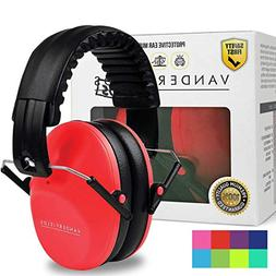 Red Ear Muffs Hearing Protection Kids Safety Sound Impact No