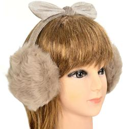 Unisex Winter Warm Women's Girls Plush Fluffy Bow Ear Warmer