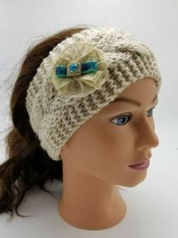 Women's Knit Headband Crystal Detail Earmuff Head Warmer Hai