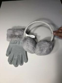 Women's Light Gray Furry Earmuffs & Furry Trim Knit Gloves 2