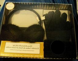 Women's Winter Gloves and Earmuffs Gift Set, Black Faux Fur