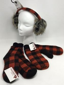 womens buffalo plaid sherpa lined mittens socks