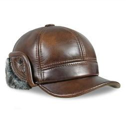 Wram Old Men's real Leather baseball cap Winter trapper hats